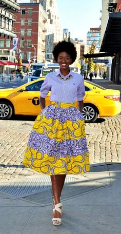African Print Midi Skirt. This skirt is made from a beautiful African Print Wax fabric.