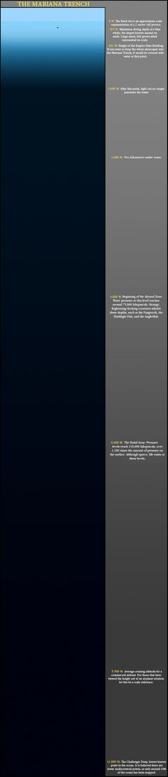 The Mariana Trench to scale.  Fascinating and terrifying at its best.