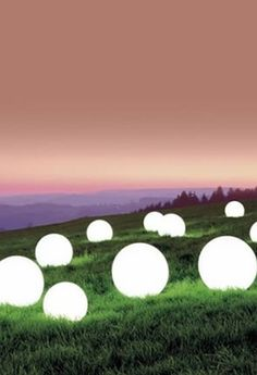 Glowing Orbs - Glowing LED Spheres - LED balls - LED Cubes Nice idea for a summer outside party!