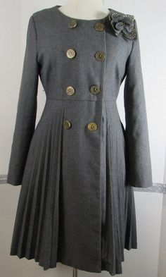 Darling London Top Coat Small Wool Dark Gray Double Breasted Gold Clock Button  #Darling #DoubleBreasted #Casual
