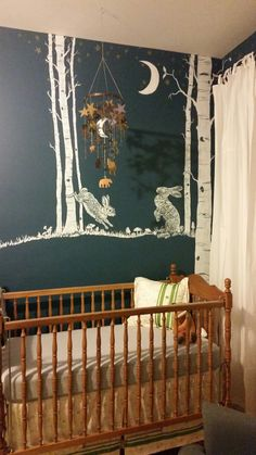 #woodland #nursery Hand-painted Woodland nursery mural. Bunnies in the moonlight! Mural and mobile by Cara Halderman.