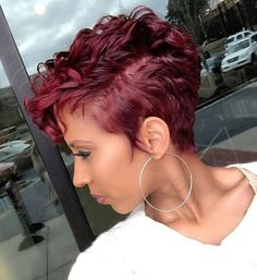 42 New Ideas Hair Short Styles Pixie Curls Colour Short Sassy Hair, Short Hair Cuts, Pixie Cuts, Short Burgundy Hair, Short Curly Pixie, Burgundy Color, Curly Hair Styles, Natural Hair Styles, Curly Pixie Hairstyles