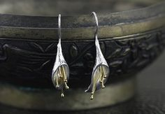 Calla Lily Long Flower Drop Earrings Handmade 925 Sterling Silver **We ship internationally! Shipping takes between two and four weeks for US. Please note all o