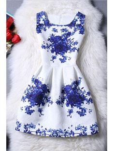 SHARE & Get it FREE | Sleeveless Blue Rose DressFor Fashion Lovers only:80,000+ Items • New Arrivals Daily Join Zaful: Get YOUR $50 NOW!