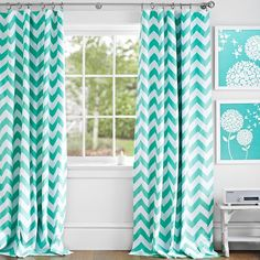 Love these curtains. For guest room? Chevron Drape With Blackout Lining, 52x63, Pool, pbteen