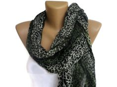 spring celebration ,green leopard cheetah print scarf , women accessories on Etsy, $12.90
