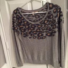 ⚡️FLASH SALE⚡️Leopard Sweater from Anthropologie Moth by Anthropologie light weight, scoop neck sweater with leopard detail. Anthropologie Sweaters Crew & Scoop Necks