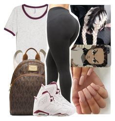 """Bad bihh in LA... "" by naebreezy ❤ liked on Polyvore featuring H&M, Identity, MICHAEL Michael Kors and NIKE"