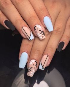 In search for some nail designs and ideas for your nails? Here is our listing of must-try coffin acrylic nails for fashionable women. Summer Acrylic Nails, Best Acrylic Nails, Acrylic Nail Designs, Spring Nails, Summer Nails, Chic Nails, Stylish Nails, Swag Nails, Nagellack Design
