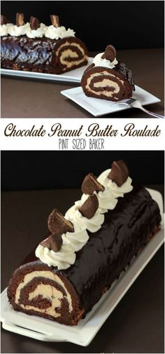 Chocolate and Peanut Butter Roll Cake. You're gonna wanna make this ASAP!!