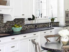 White Cabinets Black Countertop Backsplash Ideas
