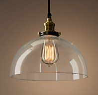 20th C. Factory Filament Clear Glass Dome Pendant Aged Steel $119 -- ON SALE for $95