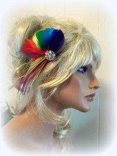 RAINBOW Feather Fascinator,rhinestone  jeweled center, hair clip, bridal fascinator, wedding, special occasion