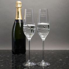 Engraved Crystal Champagne Flutes | GettingPersonal.co.uk