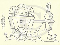 """8"""" x 10"""" primitive Easter embroidery - stitchery epattern.Epattern includes DMC color list and simple instructions."""