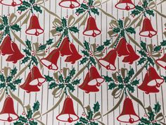 Vintage Christmas Gift Wrapping Paper - Red Jingle Bells and Holly with Gold Ribbons - Christmas Paper - 1 Unused Full Sheet Gift Wrap Vintage Christmas Wrapping Paper, Gift Wrapping Paper, Christmas Gift Wrapping, Christmas Paper, Christmas Goodies, Christmas Time, Christmas Gifts, Merry Christmas, Vintage Gifts