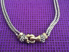 Jewelry Necklace Two-Tone Mix Metal Silver Gold Box Chain Ribbed Vintage Handmade Christmas New Year Dressy Gift Work Women Teen Tween Girls on Etsy, $15.00