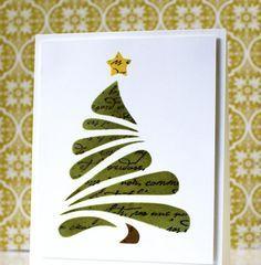carte de vœux DIY pour Noël décorée d'un sapin de Noël vert et une étoile jaune                                                                                                                                                                                 Plus