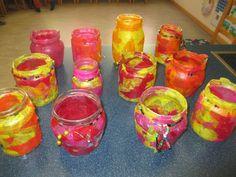 im Kindergarten haben wir orientalische Windlichter gebastelt