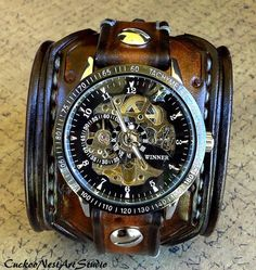 Steampunk Wrist Watch Leather Watch Skeleton watch Leather