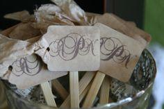 SET OF 50 - custom monogram swizzle sticks/ food pick/ cake topper - weddings, receptions, engagements