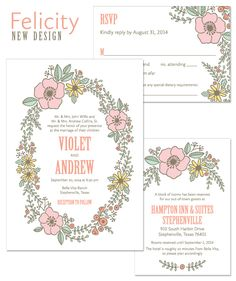 Felicity Hand-drawn Floral Wreath Wedding Invitation by The Green Kangaroo, Inc.