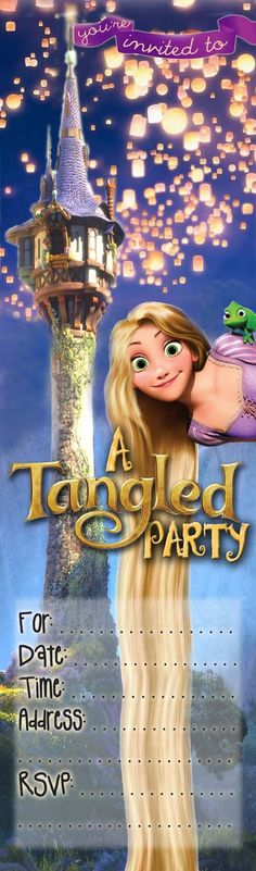 FREE Kids Party Invitations: Tangled Party Invitation *NEW*