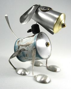 recycled kitchen parts into small sculpture