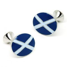 Blue and White Color Button Cufflinks