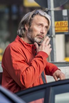 Mads Mikkelsen In Berlin. Nov.5, 2015. Not plaid but smoking. Before the GQ Awards.