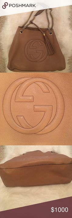 Gucci Soho Shoulder Bag Tan Amazing GUCCI Soho shoulder bag in Tan. Originally purchased at Gucci in Scottsdale AZ, has original Dust Bag:) Amazing Condition , the inside is a little dirty but you could clean it or just leave it. Nothing major. This bag goes great for every day use and matches with almost anything!!!!!    I have original receipt & proof of authenticity:) Gucci Bags Shoulder Bags