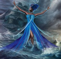 "Yemaya Ibu Okoto : This Yemaya is born in the Odun Merunla-Iroso Ibu Okto means "" she who lives in the conches"" . The Ocean is of blood. Presides of naval battles Yemaya Santeria, Yemaya Orisha, African Mythology, African Goddess, Yoruba Orishas, Yoruba Religion, Black Love Art, Afro Art, Divine Feminine"