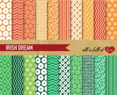 Green and Orange Scrapbooking Kit by All is full of Love on Creative Market