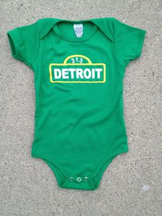 Detroit Street Sign Kelly Green Onesie Made by DetroitShirtCompany, $21.00