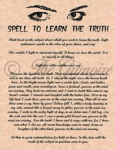 Spell Learn the Truth, Psychic Power, Book of Shadows Pages, BOS Pages, Wicca Witchcraft Spells For Beginners, Magick Spells, Wicca Witchcraft, Luck Spells, Curse Spells, Wicca For Beginners, Wiccan Rituals, Voodoo Spells, Healing Spells