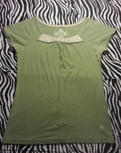 ~ SO Girls  Olive Green Crocheted Shirts Top ~ Size L 14 ~EUC
