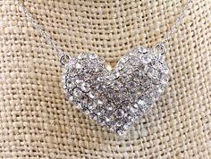 Designer Inspired Silver Paved Heart Crystal Necklace $12.75