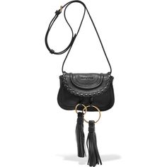 See by Chloé Polly tasseled leather shoulder bag ($460) ❤ liked on Polyvore featuring bags, handbags, shoulder bags, black, bohemian shoulder bag, white shoulder bag, boho purses, leather shoulder handbags and shoulder strap bags