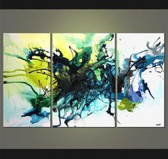 """Original Contemporary Abstract Acrylic Painting on Canvas by Osnat - MADE-TO-ORDER - 60""""x36"""" on Etsy, $1,329.00"""