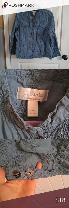 Christopher & banks jacket Blue with designs covering the front and back all over has 2 buttons on the side to adjust it buttons all the way down the front w 2 pockets could be worn as a shirt or jacket Christopher & Banks Tops Button Down Shirts