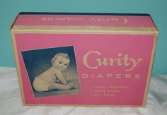 Vintage 1957 Curity Cloth Baby Diapers 1 Dozen Box NEVER Opened!