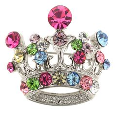 Multicolor Crown Swarovski Crystal Brooch Pin - Fantasyard Costume Jewelry & Accessories