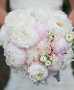 Peonies are pricey, but their fragrance becomes an accessory to your overall bridal look. Consider investing in quality paper or silk versions with jeweled adornments to create a bouquet you can display forever in a shadow box. Floral Wedding, Wedding Bouquets, Wedding Flowers, Peonies Bouquet, Pink Peonies, Pastel Bouquet, Blush Bouquet, Flower Bouquets, Ranunculus