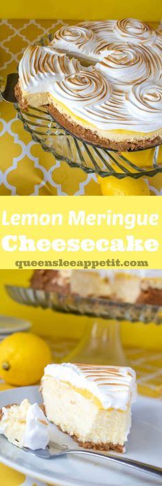 Rich and creamy lemon cheesecake topped with a tart lemon curd and fluffy meringue. If you're looking for the ultimate lemon dessert, look no further. I present to you...Lemon Meringue Cheesecake!