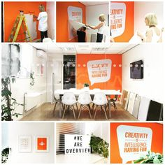 Orange office interior design. Overview Studios. Vinyl wall graphics