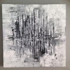 """Tableau abstrait noir et blanc """"tempête"""" 50x50 : Décorations murales par made-by-l"""