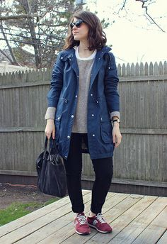 4.5.14 by Kallieish, via Flickr.  Blue parka, burgundy sneakers, black skinny jeans, grey sweater, white tee, clare vivier messenger bag, madewell sunglasses, timex watch