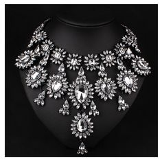 Amazon.com: Hamer Women's Multi-color Crystal Statement Chokers Necklace Pendant Jewelry for Girls (White): Clothing