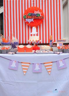 Dessert table at a Halloween party!  See more party planning ideas at CatchMyParty.com!