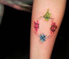 Watercolour Playstation tattoo by Felipe Rodrigues Fe Rod Thanks Felipe! - Playstation - Ideas of Playstation Tattoos Motive, Body Art Tattoos, New Tattoos, Sleeve Tattoos, Tattoos For Guys, Cool Tattoos, Tatoos, Button Tattoo, 4 Tattoo
